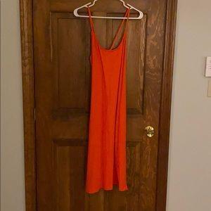 J. Crew- orange cross back wrap knit dress -L